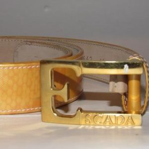 Escada Gold Patent Leather Gold 'E' Buckle Belt